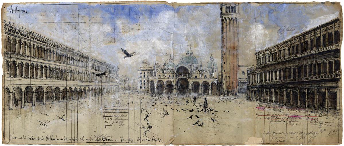 Das wohl bekannteste Postkartenmotiv wollt ich auch mal kritzeln - Venedig Markus Platz