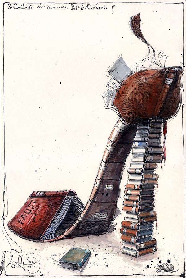 Schuhlette einer alternden Bibliothekarin
