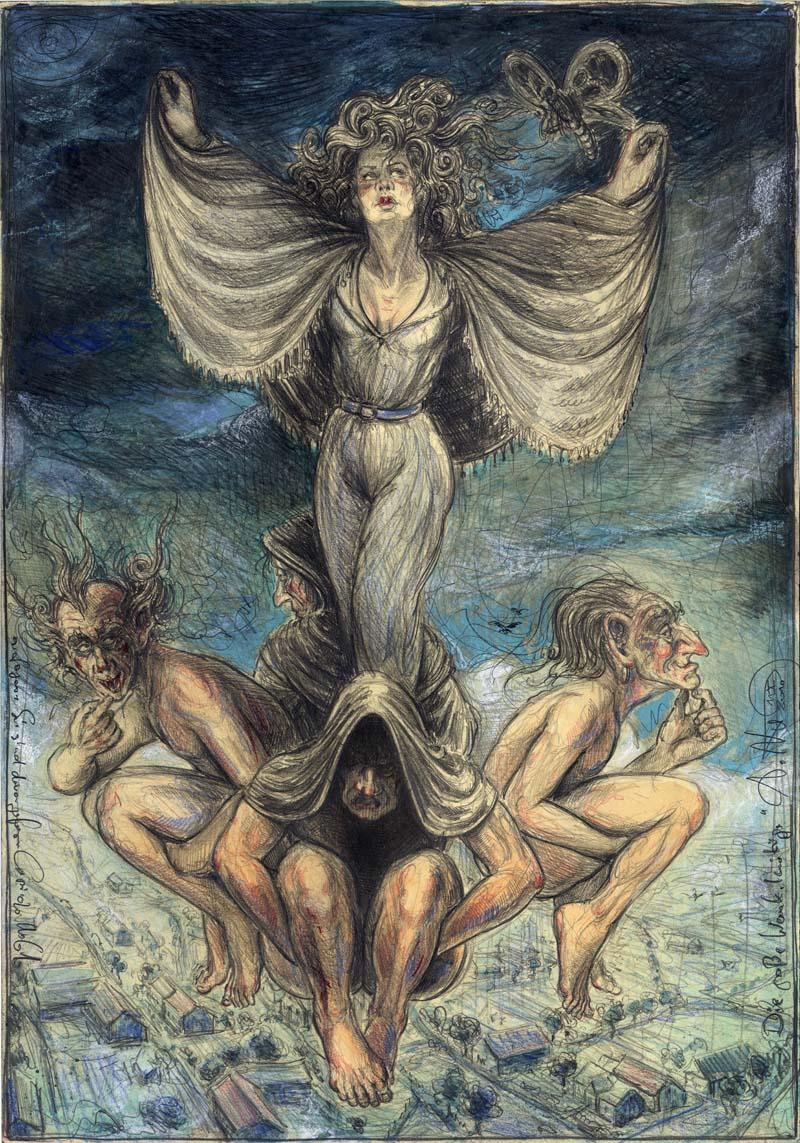 """Die große Wankelmütige - frei n. Goyas Capricho """"Sie sind davon geflogen"""" - No. 61"""