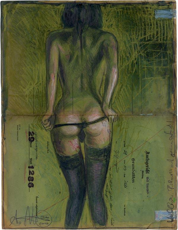 Weiblicher Rückenakt auf grünem Grund