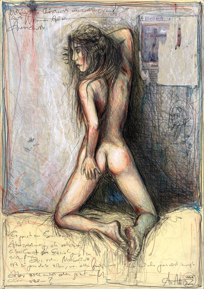 Weiblicher Rückenakt vor weißer Wand