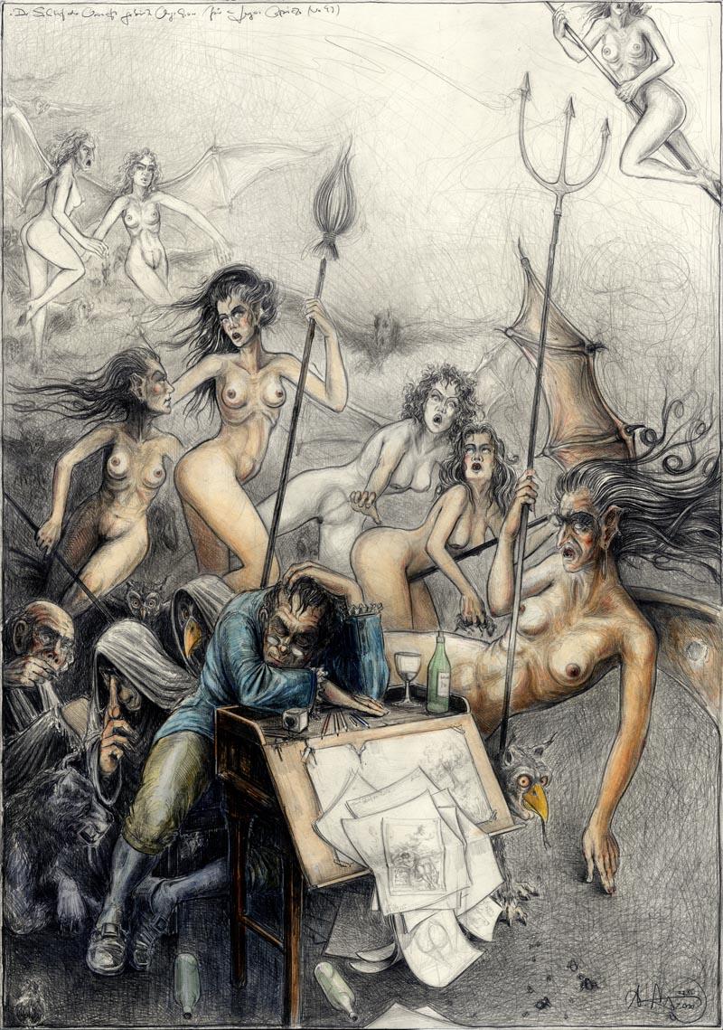 Der Schlaf der Vernunft gebiert Ungeheuer (frei n. Goyas Capricho No. 43)