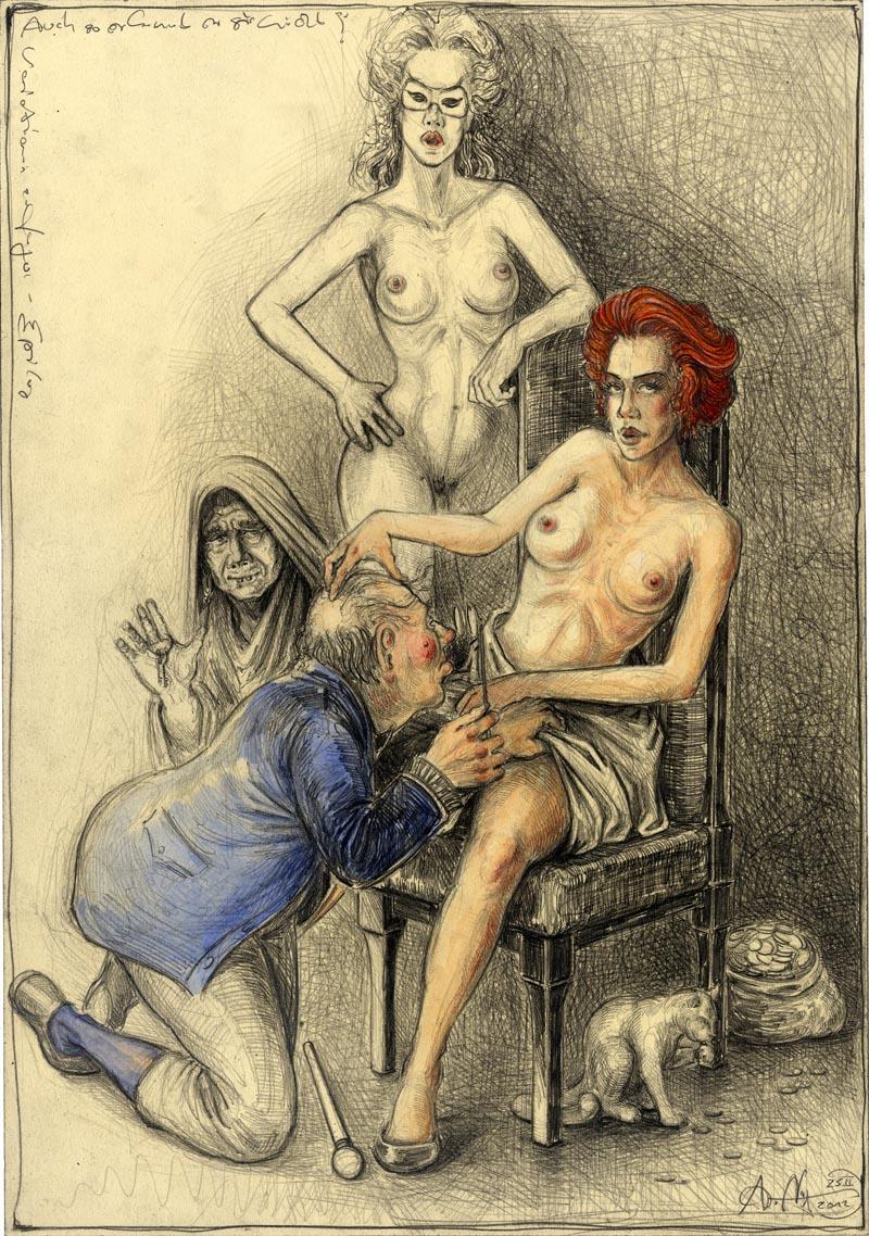 Auch so erkennt er sie nicht (frei n. Goyas Capricho No. 7)