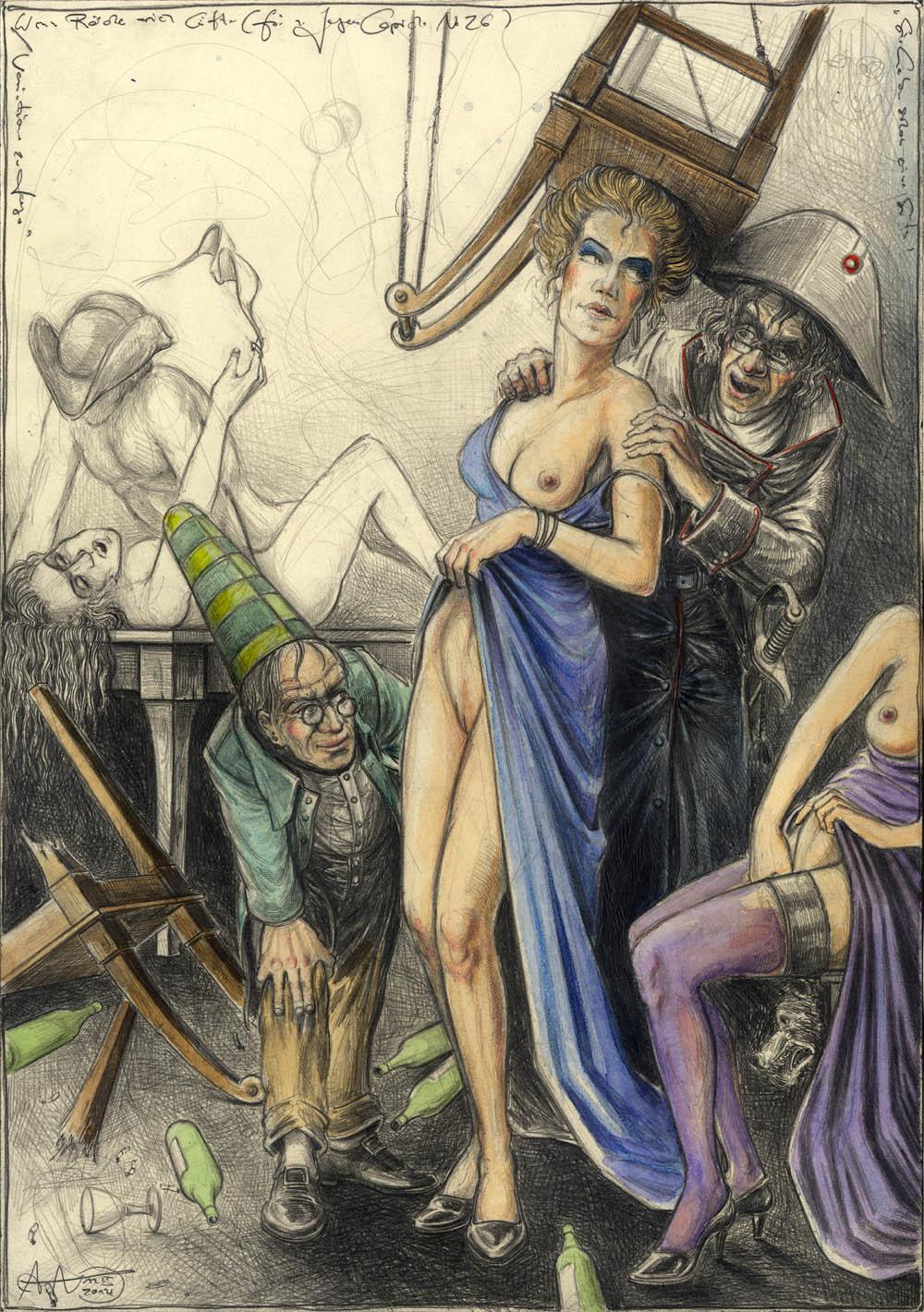 Wenn Röcke sich lüften (frei n. Goyas Caprichos No. 26)