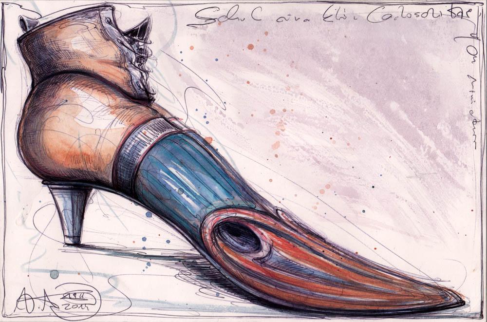 Schuh einer Lachsschnitte