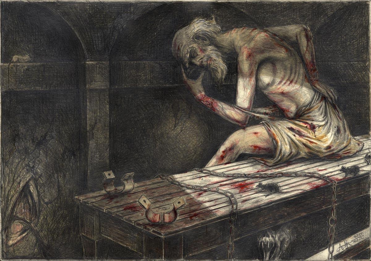 """Grube und Pendel II. - """"... und als man mir die Fesseln abnahm und ich mich setzen durfte ..."""""""