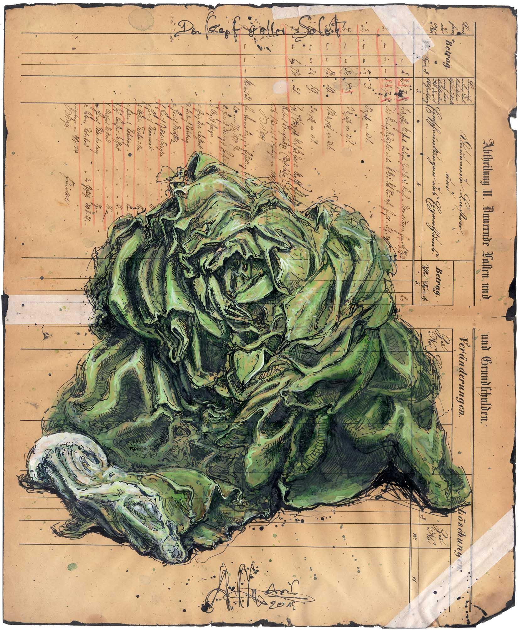 Den Kopf voller Salat