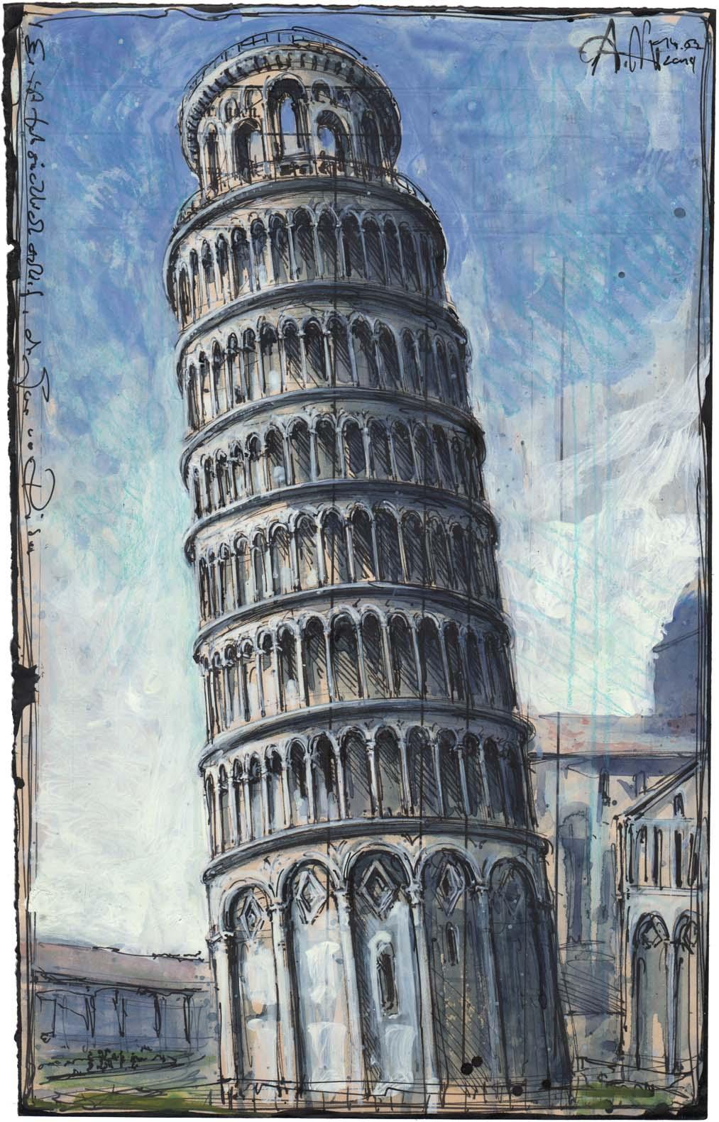 Er ist tatsächlich schief, der Turm von Pisa
