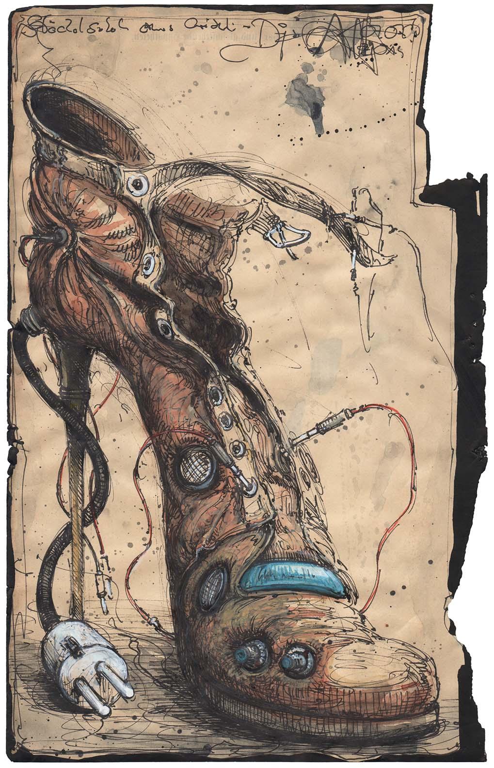 Stöckelschuh eines weiblichen DJ´s