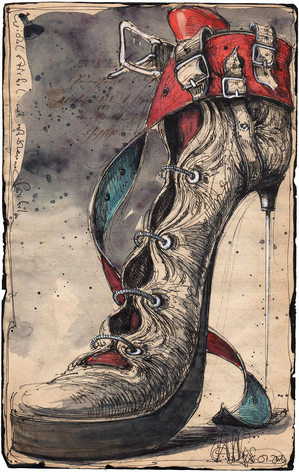 Wickel Stiefel mit rot-blauem Gürtel