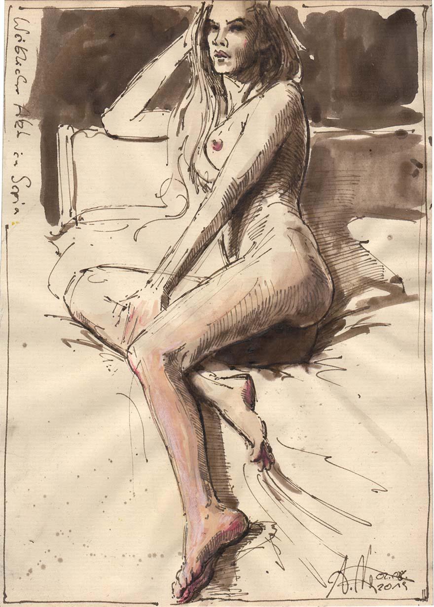 Weiblicher Akt in Sepia