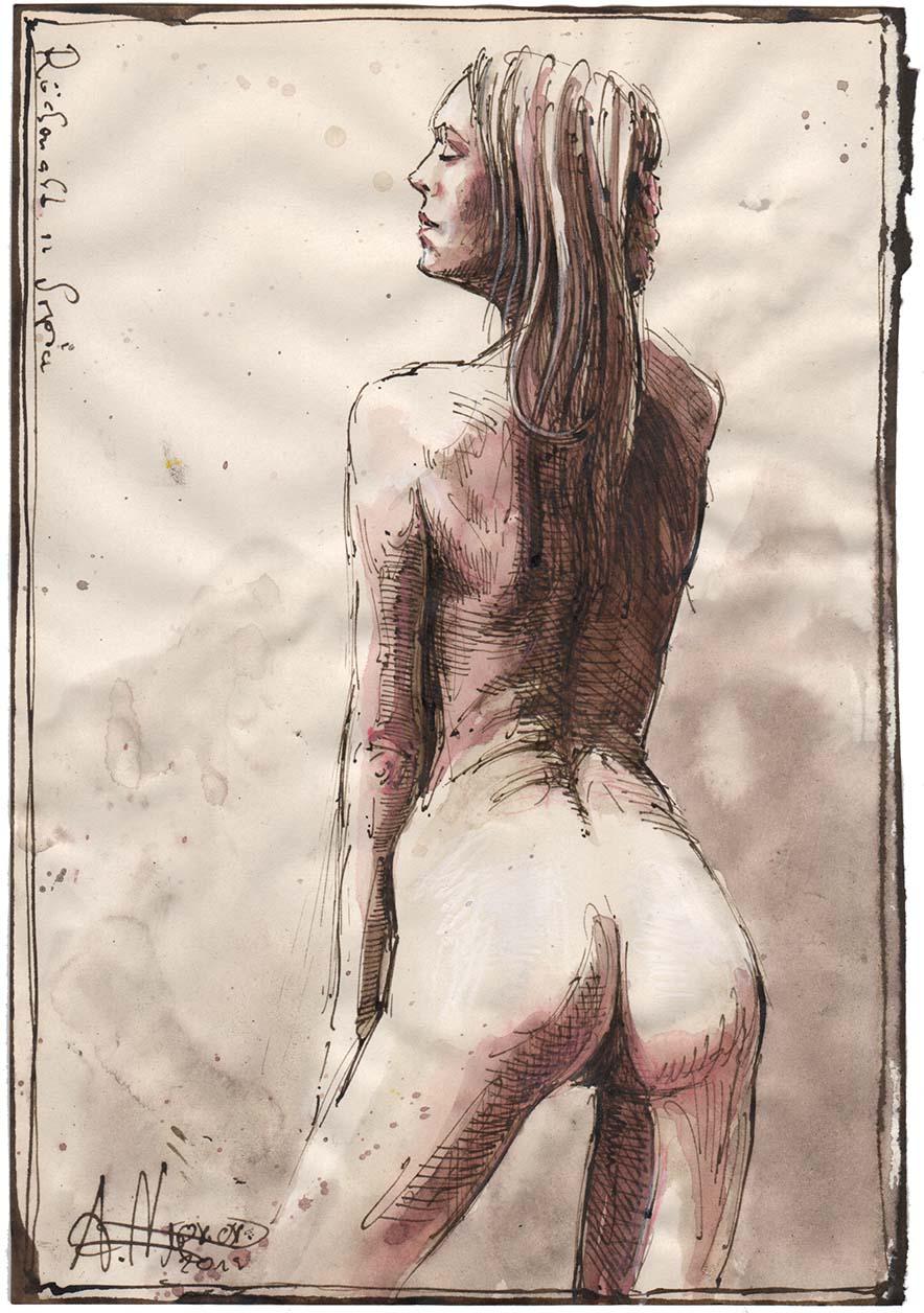 Rückenakt in Sepia