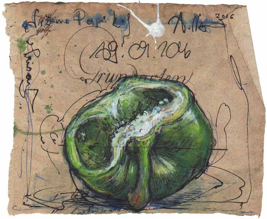 Traurige, grüne Paprika