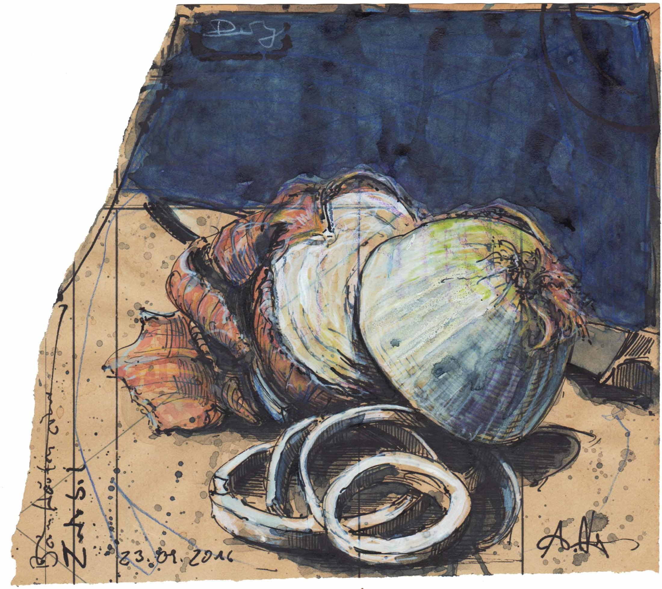 Beim häuten einer Zwiebel