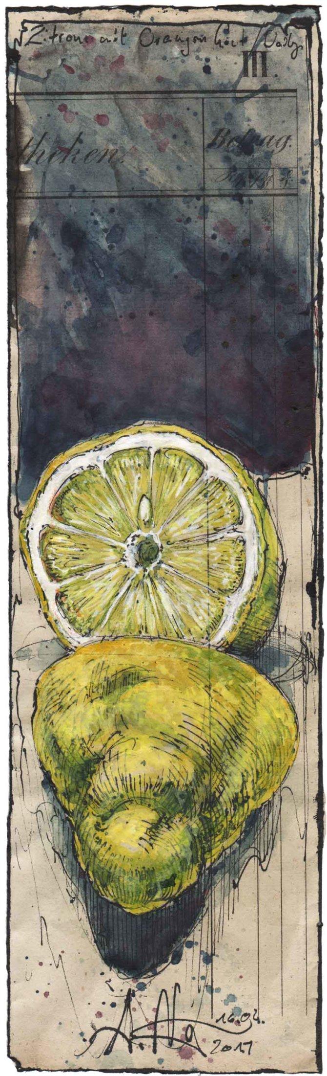 Zitrone mit Orangenhaut