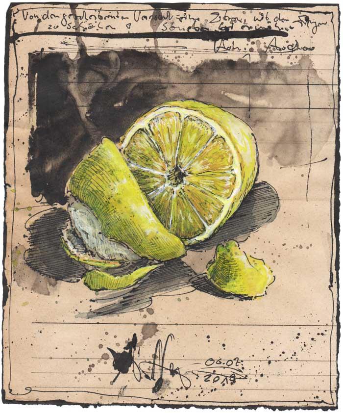 Von dem gescheiterten Versuch eine Zitrone mit den Fingern zu schälen