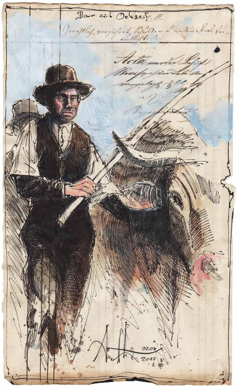 Bauer mit Ochse
