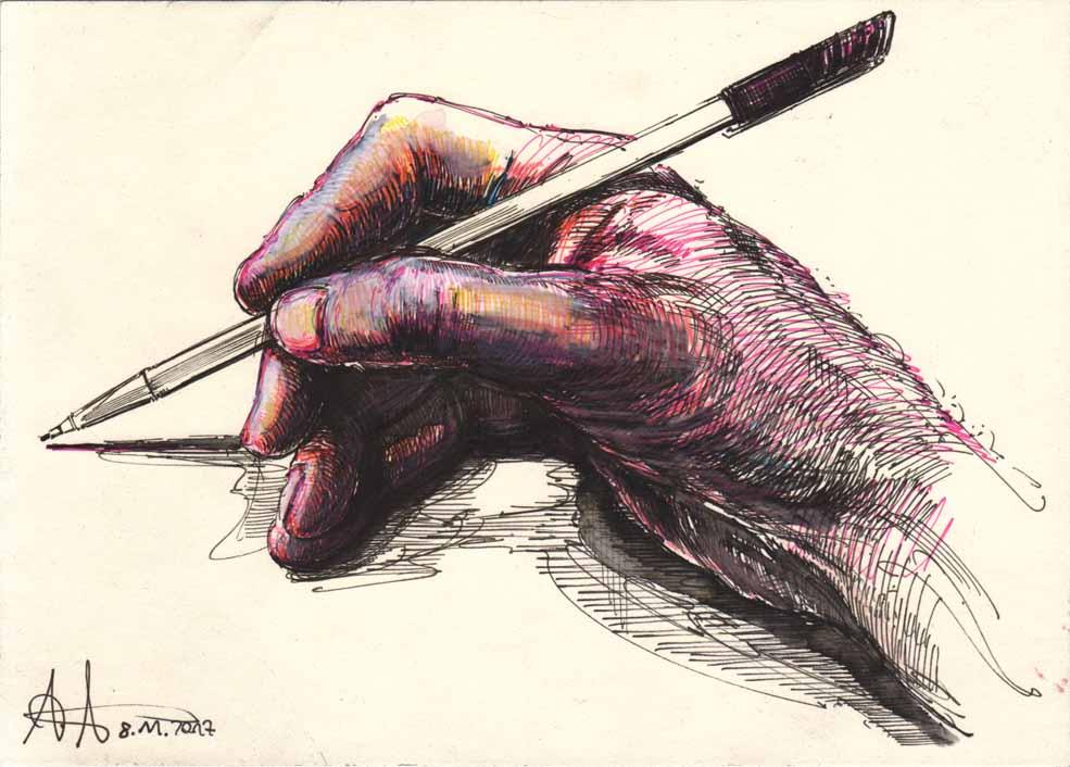 Auch ein Rechtshänder kann zeichnen