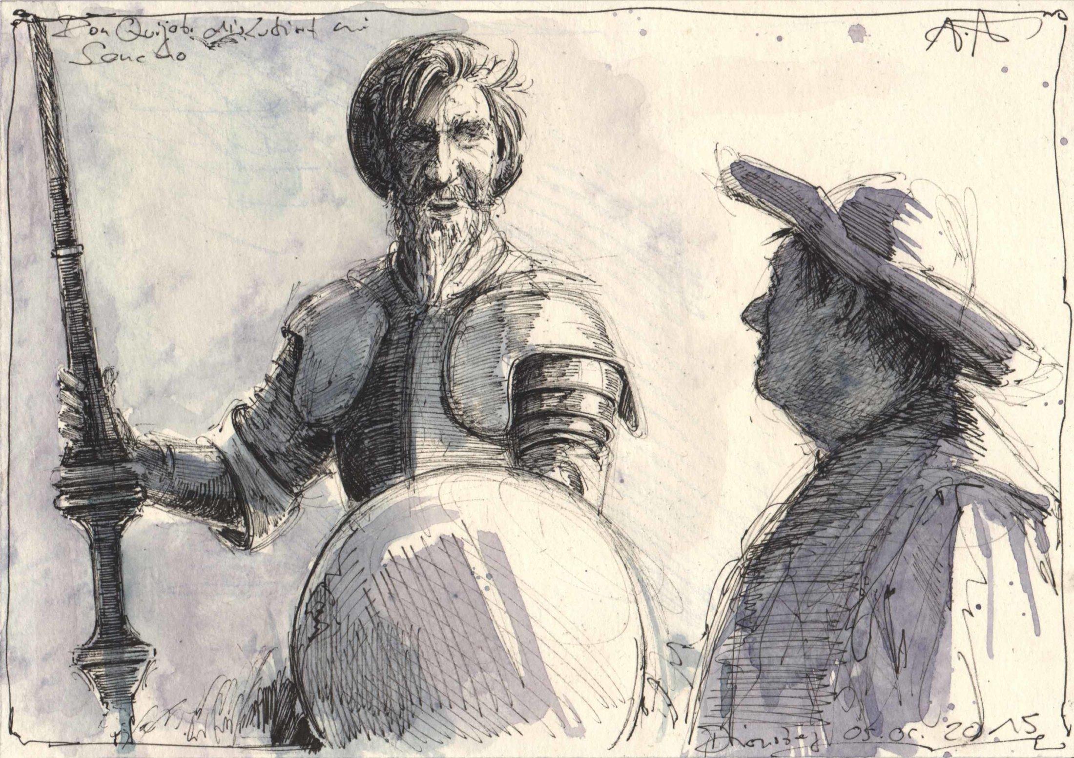 Don Quijote diskutiert mit Sancho