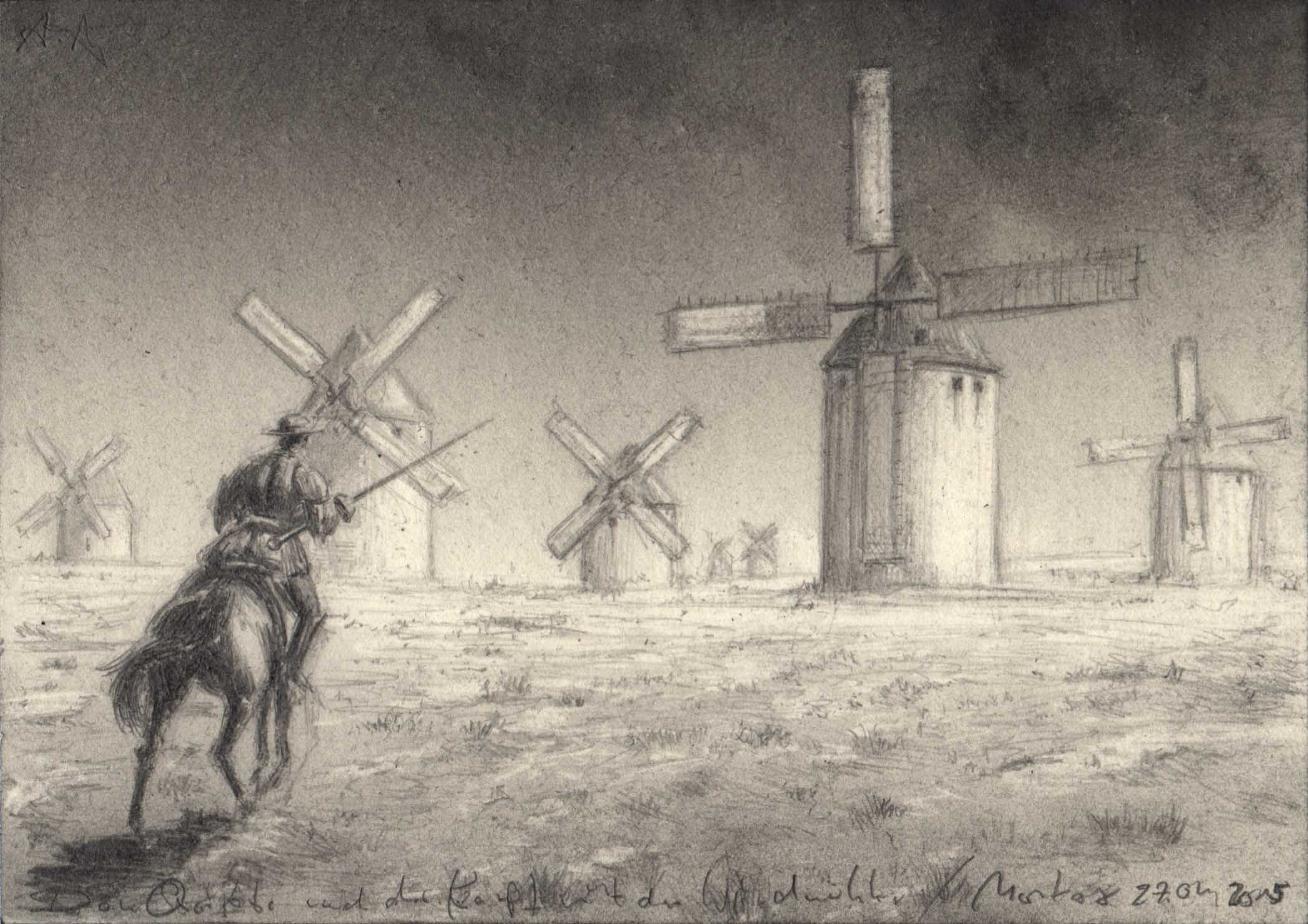 Don Quijote reitet gegen die Windmühlen