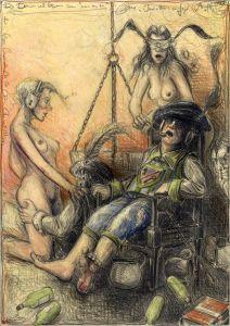 """Die Damen und Herren von """"von und zu"""", frei n. Goyas Capricho No. 50 - Die Chinchillas"""