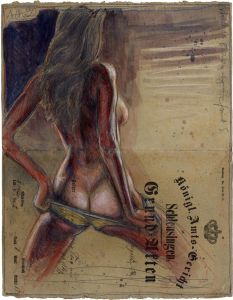 Weiblicher Rückenakt auf grauem Grund
