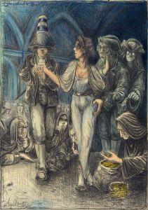 """Die verkaufte Braut, frei n. Goyas Capricho No. 2: """"Sie geben sich ihr Jawort und reichen ihre Hand dem Erstbesten, der kommt"""""""