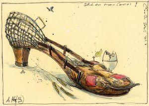 Schuh eines einsamen Landeis