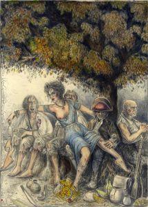Die Wegelagerer (frei n. Goyas Capricho No. 11)