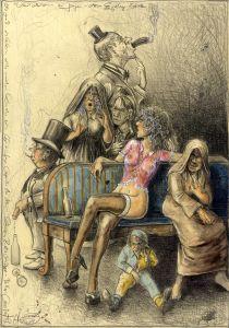 Ob groß, ob klein, alles werden Kunden sein (frei n. Goyas Capricho No. 5 - Schöne Ratschläge)