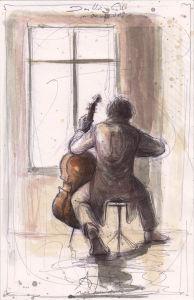 Das kleine Cello vor dem Fenster