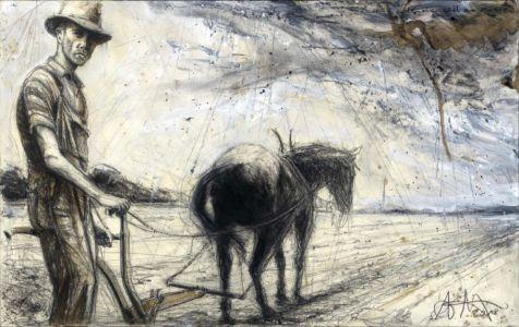 Mann und Pferd ohne Namen