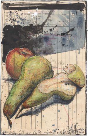 Die Verlegenheit eines Apfels angesichts zweier Birnen