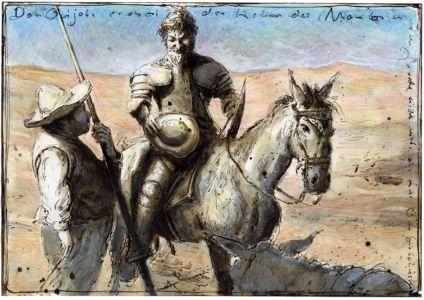 Don Quijote erobert den Helm des Mambrin