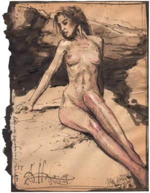 Akt vor Sepia farbenen Felsen
