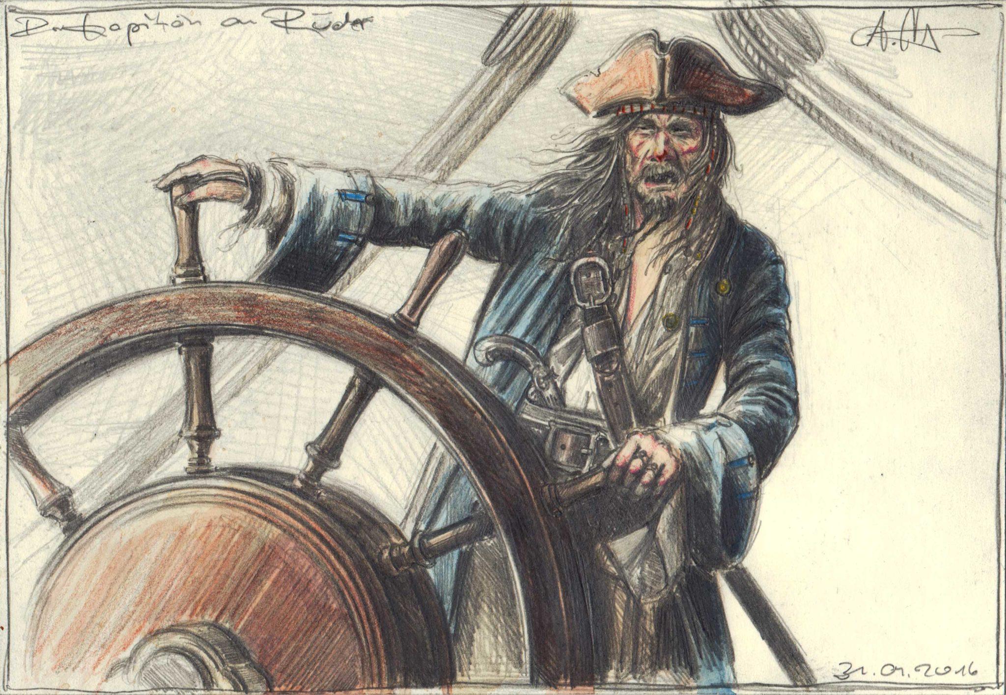 Der Kapitän am Ruder
